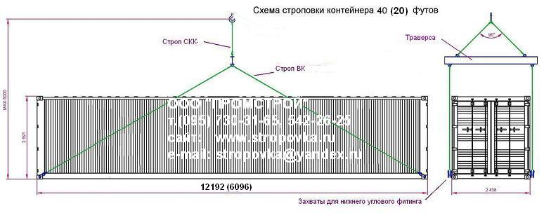 Строповка контейнера ( схема